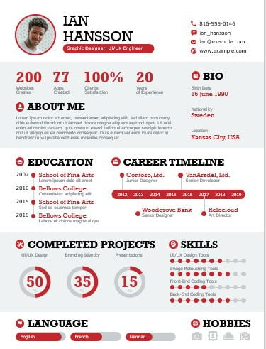 Bold Infographic Resume PPTX Templates